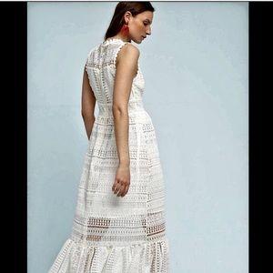 Anthroologie Crochet Lace RuffleHem Maxi Dress 12p